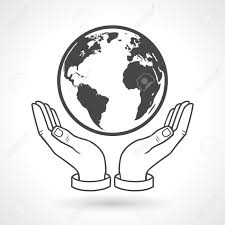 earth in hands black and white